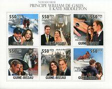 More details for guinea-bissau royalty stamps 2011 mnh royal engagement prince william kate 6v ms