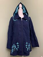Dennis Basso Water Resistant Embroidered Zip Front Hooded Jacket -Navy/Aqua -XXS