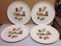 VTG TST Taylor Smith Taylor Ever Yours Cape Cod  Americana Dinner Plates (4)