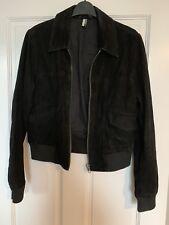 Topshop Black Leather Suede Bomber Jacket Size 12