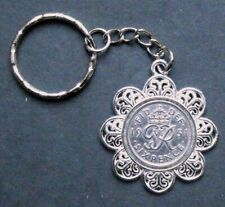 1951 70th birthday lucky Sixpence Pendant Charm keyring wedding present box x