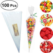 100X Clear Cone Bags Sweet Treat Bags Candy Flower Packing Birthday Wedding