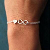 Gold Silber Glückszahl 8 entwarf Liebe Herz Kette Armband Armreif Schmuck  G3D