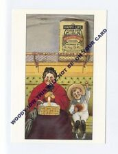ad370 - advert for Happy Life Flour - young boy & woman in train  - art postcard