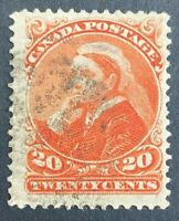 "Canada Scott #46 20 Cent Vermilion ""Small Queen Fine Used ST19"