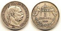 Austria- 5 Coronas. 1907. Hungria. Jose I. MBC+/VF+. Plata 23,9 g. Escasa
