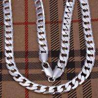 ASAMO Herren Panzerkette Halskette 8mm 925 Sterling Silber plattiert Kette