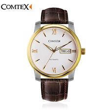 Comtex Men Automatic Mechanical Watch Gold Brown Leather Band Date Sapphire 5ATM