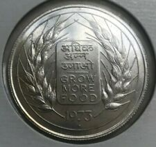 1973 India 20 Rupees Silver - FAO Grow More Food