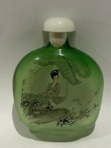 VINTAGE REVERSE PAINTED SNUFF BOTTLE  WITH JADE STOPPER-  GEISHA & BRDS