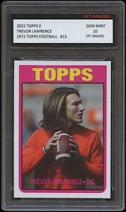 TREVOR LAWRENCE 2021 TOPPS X 1972 Retro Style 1ST GRADED 10 ROOKIE CARD JAGUARS
