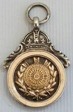 Vintage 1932 Thomas Fattorini Fléchettes médaille Montre de Poche Gousset Pendentif Argent & Or Rose