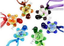 Wholesale Lots 6Pcs Fine Sea Turtle Flower Murano Glass Pendant Necklace FREE