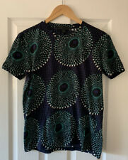 BURBERRY PRORSUM NAVY BLIE PEACOCK PRINT COTTON T-SHIRT TOP XS EXTRA SMALL
