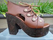 Free People FARRAH Platform Clog Sandal, Whisky, Leather Carved Wood, Wmns 38