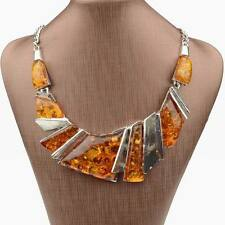 Irregular Yellow Tibet Silver Amber Statement Bib Collar Charm Necklace Pendant