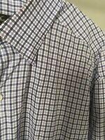 Ermenegildo Zegna Men's Blue Long Sleeve Plaid Dress Shirt Cotton Size XL Italy