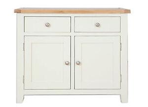 Hobart Ivory/Natural Oak Top 2 Door 2 Drawer Sideboard Fully Assembled
