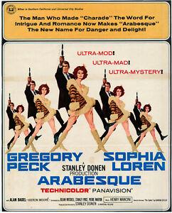 ARABESQUE (1966) trimmed Window Card • Peck & Sophia Loren • ROBERT McGINNIS Art