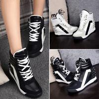 Fashion Womens Hidden Wedge Heel Platform Lace Up Sneakers Creeper Walking Shoes