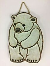 Victoria Littlejohn Pottery Ceramics White Polar Teddy Bear Wall Hanging Trivet