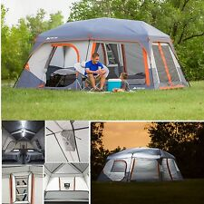 Ozark Trail 10 Person 2 Room Instant Cabin Family C&ing Tent w/ Led Light Pole & Ozark Trail 10 Person Cabin Camping Tents | eBay
