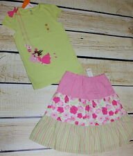 NWT Gymboree Fairy Garden green swing top 12 & green floral maxi skirt 10 set