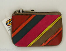 NEW FOSSIL KEYPER KEY COIN PINK STRIPE,TOP ZIP CANVAS PVC COIN PURSE,WALLETPOUCH