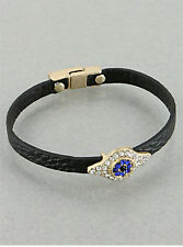 "7"" Sapphire Crystal Evil Eye Charm Black Leather Bracelet"