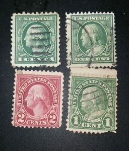 George Washington Red Green And Ben Franklin Green Rare One And Two Cent Stamps
