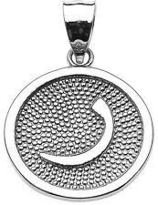 "14k White Gold Arabic Letter "" raa "" r Initial Charm Pendant"