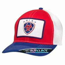 c52152879b6 Ariat Mens Hat Baseball Cap Mesh Snap Patch Shield Logo Red Blue 1500704