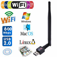 600M USB 2.0 Wifi Router Wireless Adapter Network LAN Card w/5dBI Antenna f/PC