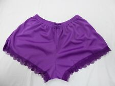 Purple Satin French Knickers 10/12 in  Simplex Nylon with Purple  Lace