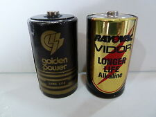 VINTAGE BATTERY  GOLDEN POWER AND RAYOVAC VIDOR D-SIZE