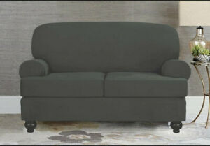Sure Fit Designer Suede  2 Cushion Loveseat Slipcover in Gray, 2 Available