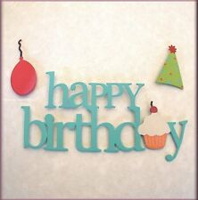 HAPPY BIRTHDAY WORD PACK METAL MAGNETS SET OF 3 EMBELLISH YOUR STORY FREE SHIP