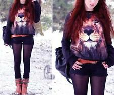 Cotton Blend Animal Print Long Sleeve Tops & Blouses for Women
