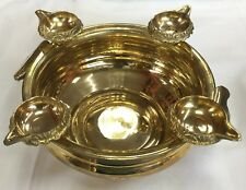 Brass Small Uruli /  bowl / Urli With 4 Kuber diyas Decoration USA seller