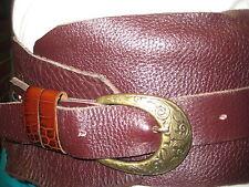 "Original Hand made Womens Burgundy Belt Genuine Leather Size 39"""