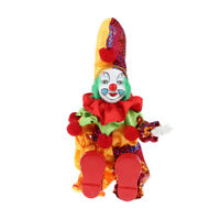 Porcelain Clown Doll Hanging Foot Harlequin Doll Home Display Ornament, H