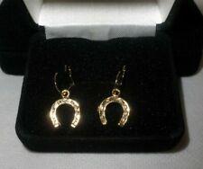 Horse Shoe Gold Coloured Loop Earrings Boxed