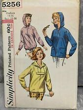 VTG 60's Simplicity 5256 Womens Sew Pattern Hooded Jacket Parka Miss 14-16 Uncut