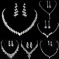 Charm Wedding Bridal Crystal Rhinestone Women Necklace Earrings Set Jewelry New