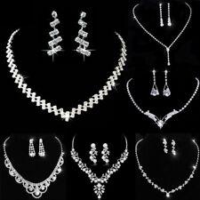 Fashion Wedding Bridal Crystal Rhinestone Women Necklace Earrings Set Jewelry