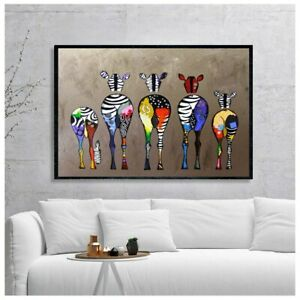 Abstract Zebra Canvas Art Painting Wall Deco Colorful Animal Art Print Poster