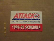 NPSL Kansas City Attack Vintage Defunct Circa 1994-95 Team Logo Pocket Schedule