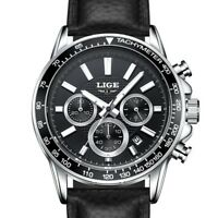 Chronograph Men's Watch Luxury Swiss Quartz Date Leather/Steel Strap Wristwatch