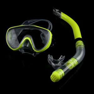 Adult Diving Tempered Glass Diving Set Scuba Anti-Fog Goggles and Snorkel Yellow