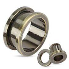 "PAIR-Titanium Bronze Screw On Tunnels 14mm/9/16"" Gauge Body Jewelry"